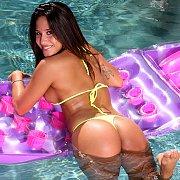 Yellow Thong Bikini Babe