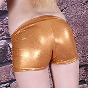 Gold spandex outfit on teen
