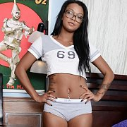 Bedroom Teasing Coed Ebony Sweetheart