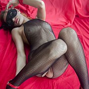 Black Fishnet Bodystocking Lingerie And Mask