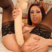 Stockings Milf Using A Huge Dildo