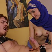 Naughty Naked Masseur with Hijab Teases Client