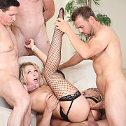 Blonde In Fishnets Takes Four