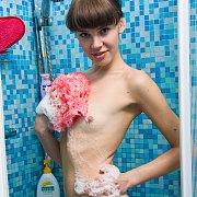 Showering tiny titties skinny girl