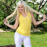 Blonde Teen Petite In White Tights