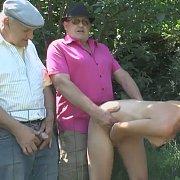 Two Grandpas Part Of A Public Gangbang