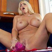 Curvy big tits blonde milf masturbates