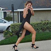 Brunette Posing in Public