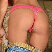 Tight Ass Wearing Pink Thong Panties