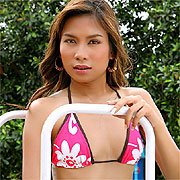 Asian Strips Bikini By The Pool