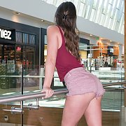 Brunette Shorts Teasing At The Mall