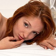 Freckles On A Pretty Young Redhead Model