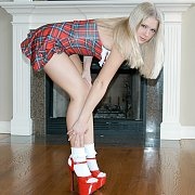 Blonde Teen Schoolgirl Uniform Teasing