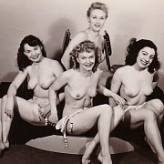 Four Vintage Ladies Showing Their Breasts