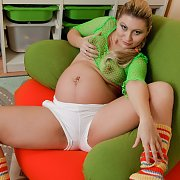 Pregnant In Green Fishnet