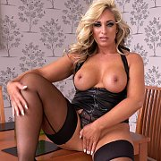 Curvy Blonde Milf In Stockings