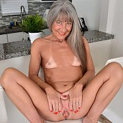 Tan Lines Grey Haired Mature