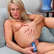 Lusty blonde milf toys