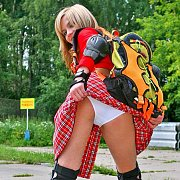 White Upskirt Panties Roller Skate Girl