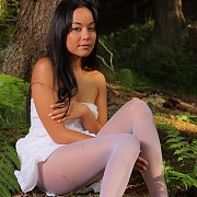 White Pantyhose Babe Outdoors