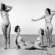 Four Vintage Nudes At The Beach Photo