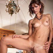 Slim Erotic Nude Brunette With Tan Lines