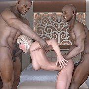 Interracial 3D threesome