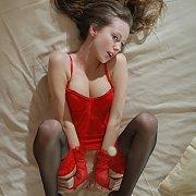 Lingerie And Stockings Erotic Brunette