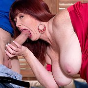 Busty Red Hair Mature Sucking Thick Cock