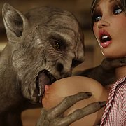 Mutant Licking Her Big Breast