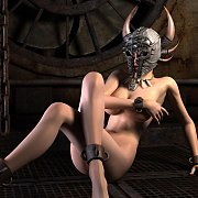 Lusty Animated Chick In Horned Mask