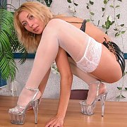 Blonde In White Stockings