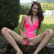 Sweet Girl Strips Hot Pink Swimsuit