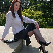 Nylons And Heels Lady At The Park