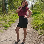 Shimmering Nylons And Heels Outside