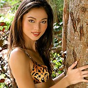 Slim Asian Bikini Babe By A Tree