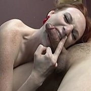 Freckled Face Redhead Gives Head
