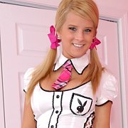 Blonde Schoolgirl Dress Up Coed With Pigtails
