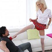Skinny Blonde Schoolgirl Gets Fucked