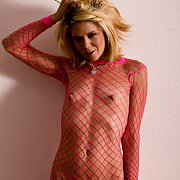 Tiny tits blonde in net dress
