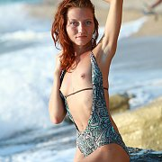 Swimsuit Stripping Slim Redhead Outdoors