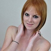Freckled Face Topless Natural Redhead With Creamy Skin