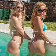 Couple Of Ladies At The Pool In Their Micro Bikinis