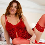 Red Lingerie And Stockings Milf For Valentines