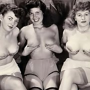 Three Vintage Ladies Topless Holding Their Tits