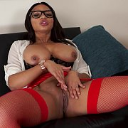 Bog Titties Ebony Woman In Red Fishnets