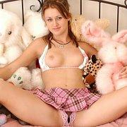 Plaid mini skirt sweetie on bed