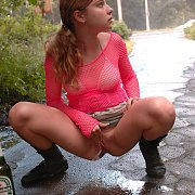 Beer Drinking Girl Takes A Piss