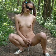 Pigtails Pisser Naked On A Hiking Trail