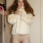 Fur Coat And Panties On Ginger With Freckles